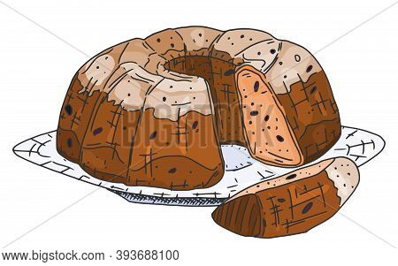 Round Raisin Muffin With Icing. Vector Doodle Sketch