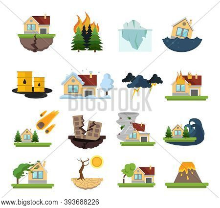 Color And Isolated Disaster Damage Icon Set Forest Fires Floods And Other Catastrophes Vector Illust