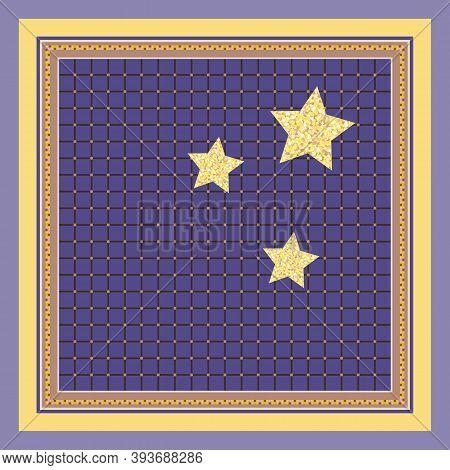 Three Gold Stars On Violet Checkered Background. Print For Handkerchief, Napkin, Pillowcase.