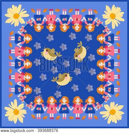 Beautiful Square Card With Cute Little Girls, Flowers And Birds. Print For Napkin, Pillowcase. Prett