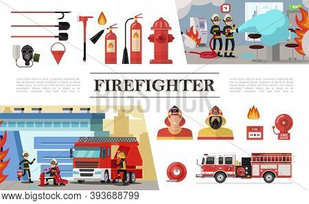Flat Firefighting Elements Composition With Rescue Brigades Shovels Gas Mask Fire Hose Hydrant Extin