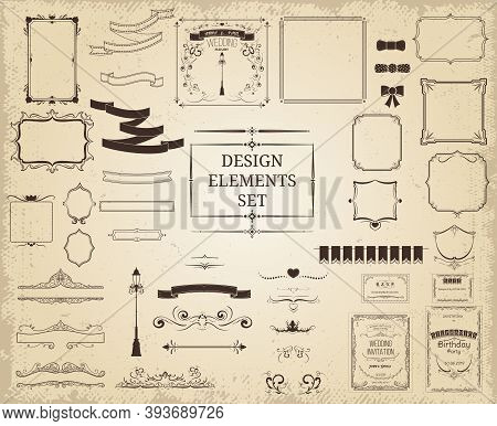 Vintage Design Elements Collection With Ribbons Frames Borders Elegant Decorations Ornaments On Ligh