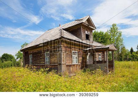 Old Wooden House In Russian Village. Novgorod Region, Russia.