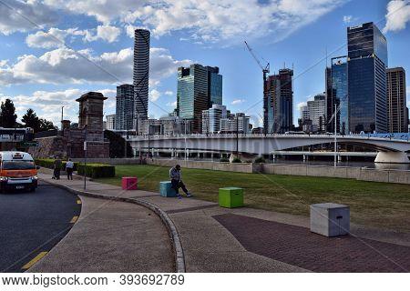 Modern Glass Skyscrapers With Meriton Near The Brisbane River
