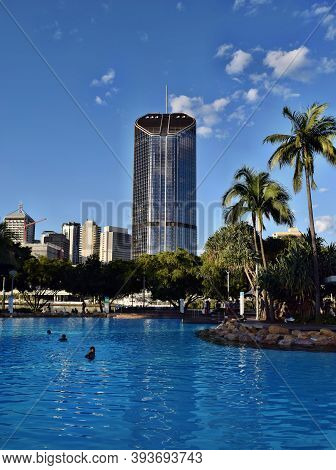 The South Bank Brisbane, Beach In City Centrum With People And Tall Modern Glass Skyscrapers 1 Willi