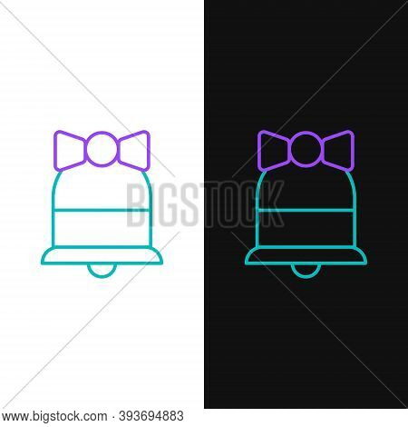 Line Merry Christmas Ringing Bell Icon Isolated On White And Black Background. Alarm Symbol, Service