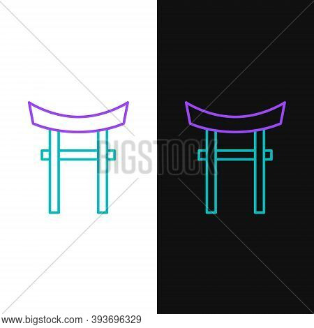 Line Japan Gate Icon Isolated On White And Black Background. Torii Gate Sign. Japanese Traditional C