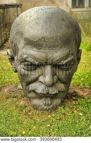 Estonia, Tallinn, 10,10,2014 Head Of The Sculpture Of Lenin On The Grass