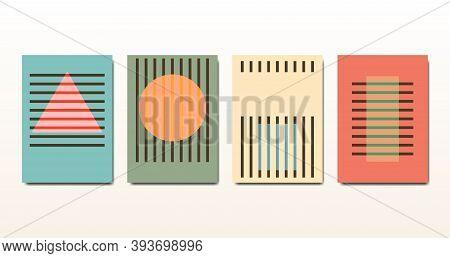 Set Minimal 20s Vintage Geometric Design Bauhaus Posters, Vector Template With Primitive Shapes Elem