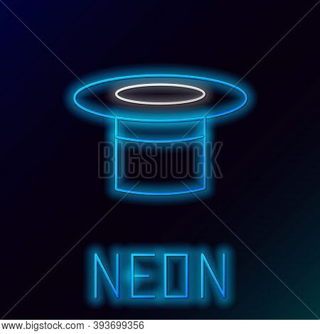 Glowing Neon Line Magician Hat Icon Isolated On Black Background. Magic Trick. Mystery Entertainment