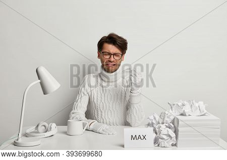 Dejected Man Cries, Holds Handkerchief, Has Troubles And Depression, Being Tired Of Work, Frustrated