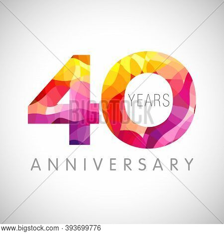 40 Th Anniversary Numbers. 40 Years Old Coloured Congrats. Cute 3d Congratulation Concept. Isolated