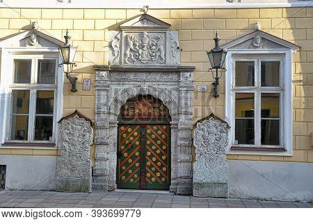 Tallinn. Estonia. 10.10.2016 Door Of The Brotherhood Of Blackheads In Tallinn