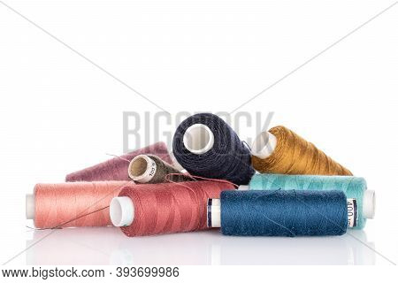 Lot Of Whole Thread Spools Heap Isolated On White
