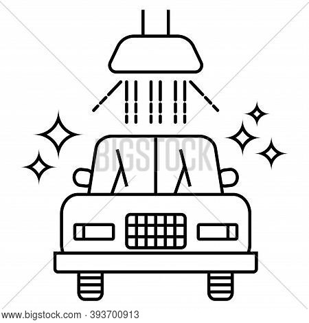 Carwash Icon. Sanitizing Station Or Service. Sanitation Of Vehicle. Cleaning And Washing Vehicle. Ou