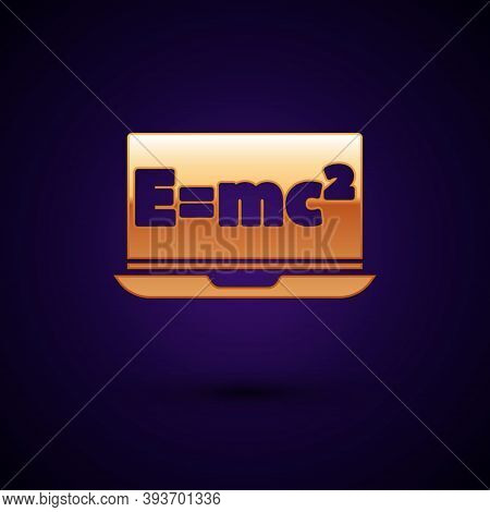 Gold Math System Of Equation Solution On Laptop Icon Isolated On Black Background. E Equals Mc Squar