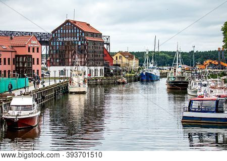 Klaipeda, Lithuania - July 10, 2020: Ships And Boats At Embankment On Dane River In Old Town Of Klai