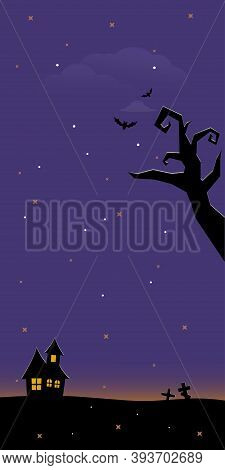 Halloween Scary Graveyard Background With Trees, Crosses And Bats. Halloween. Silhouette Of A Tombst