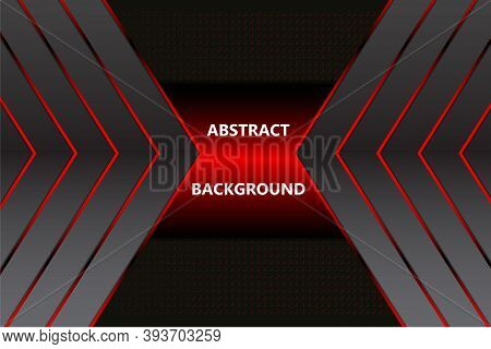 Abstract Red Background With Arrows And Metal Texture. Vector Image With Red Light