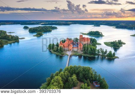 Summer Landscape. Aerial View Of Trakai Castle. Historical Sightseeings Of Lithuania. Early Sunrise.