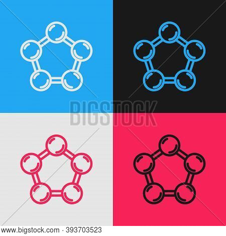 Pop Art Line Molecule Icon Isolated On Color Background. Structure Of Molecules In Chemistry, Scienc