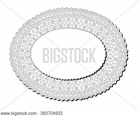 Beautiful Monochrome Illustration For Coloring Book Page With Isolated On The White Background Linea