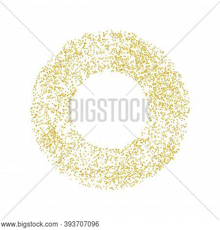 Ring Backdrop Golden Texture Crumbs. Gold Dust Scattering On A White Background. Particles Grain Or