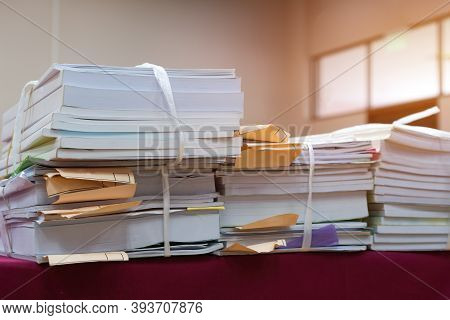 Stack Of Old Documents Report About Research Education Document Teacher While Waiting Approve From A