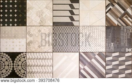 Modern Ceramic Tiles With A Pattern In Brown And Beige Tones, A Sample Of The Decor