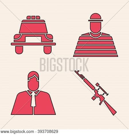 Set Sniper Rifle With Scope, Police Car And Flasher, Prisoner And Lawyer, Attorney, Jurist Icon. Vec