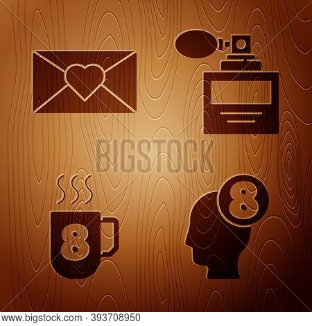 Set 8 March In Human Head, Envelope With 8 March, Coffee Cup With 8 March And Perfume On Wooden Back