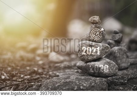 Countdown And Welcome For 2021 New Year Concept , 2021 And Target Board Print Screen On Stone Stacki