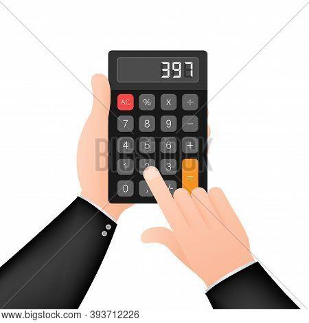Black Calculator White Background. Modern Design. Electronic Portable Calculator. Vector Stock Illus