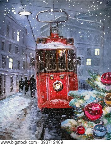 Oil Painting On Canvas - Winter Town Landscape With Decorated Christmas Trees And Old Red Tram. Fine