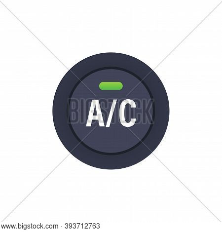 Car Air Condition Button On White Background. Vector Stock Illustration.