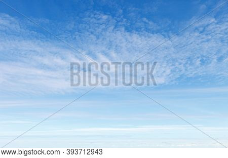 Beautiful Blue Sky With White Cirrus Clouds