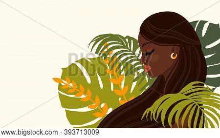 Women African Portrait And Floral Elements. Vector Illustration