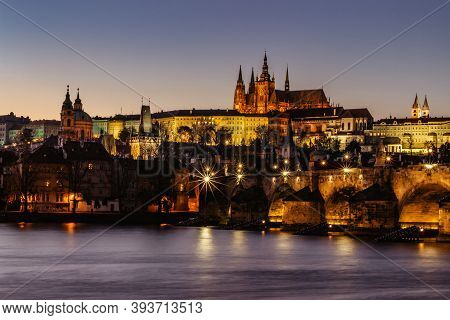 Postcard View Of Night Prague Panorama, Capital Of The Czech Republic.amazing European Cityscape.pra
