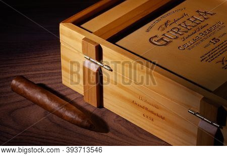 Prague,czech Republic - 8 November,2020: Wooden Box Of Premium Gurkha Cigars On The Black Table. Gur