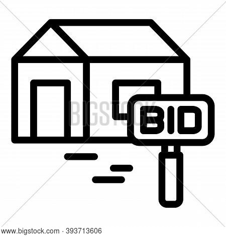 House Bid Icon. Outline House Bid Vector Icon For Web Design Isolated On White Background