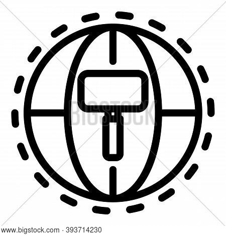 Global Auction Icon. Outline Global Auction Vector Icon For Web Design Isolated On White Background