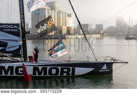 Les Sables D'olonne, France - November 08, 2020: Kojiro Shiraishi Boat (dmg Mori) In The Channel For