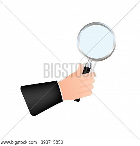 Magnifying Glass Hand For Web Background Design. Magnifying Glass Icon. Vector Stock Illustration.