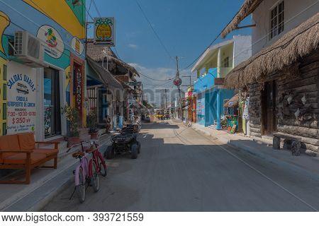 Sandy Road On Holbox Island, Quintana Roo, Mexico Located In North Yucatan Peninsula