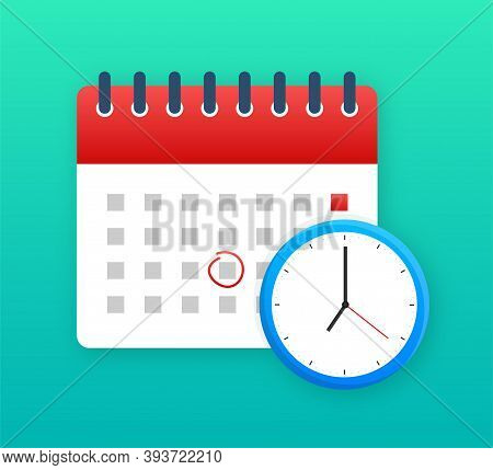 Calendar And Clock Icon. Wall Calendar. Important, Schedule, Appointment Date. Vector Stock Illustra