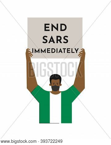 Vector Isolated Flat Concept. Single Picket And Strike Of Nigerian Man In T-shirt In Color Of Nation
