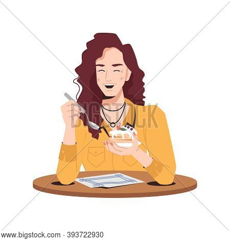 Stylish Woman Delighted With Cake Sitting At Table In Cafe Or Restaurant. Vector Smiling Caucasian E