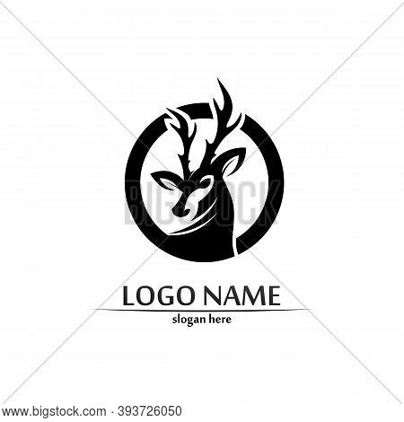 Deer Logo Animal Horn And Mammal Design And Graphic Vector