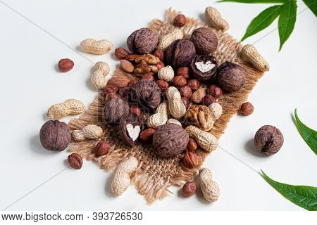 Almonds, Walnuts, Hazelnuts And Peanuts, Mix Of Nuts. Contains Beneficial Vitamins And Minerals. On