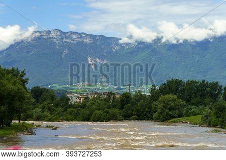 Cycleway Of Isarco Valley, Bolzano Province, Trentino Alto Adige, Italy. The River At Bolzano